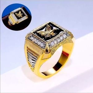 New Gold Men's Simulated Studded Diamond Ring